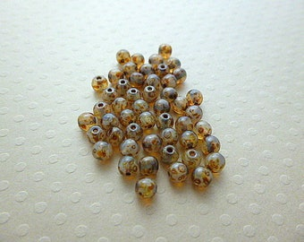 Set of 50 beads round color very Marbled Brown 4 mm - A4-0421