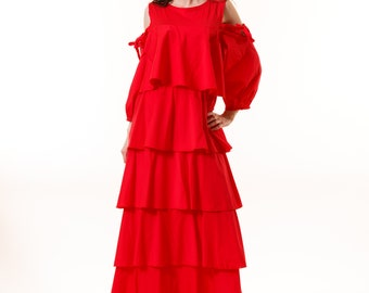 Loose Maxi Red Dress / Extravagant Fiesta Long Dress / Long Party Dress
