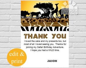 Safari Thank You Cards, Safari Birthday Thank You Cards, Jungle Thank You, Thank You Note Cards- INSTANT DOWNLOAD Edit with Acrobat Reader