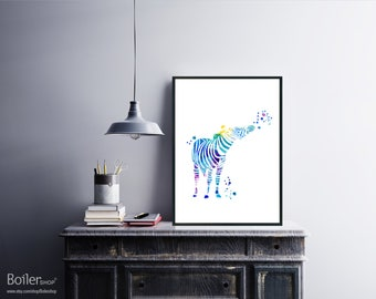 Animal Print, Watercolor Zebra Print, Nursery Printable Digital, Abstract Print, Zebra Poster, Kids Print, Animal Digital Art, Instant Kids