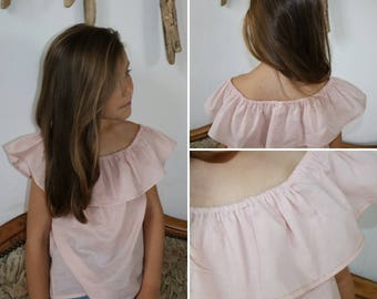 Powder Pink girl, summer blouse with ruffle top and end liserais Golden cotton Voile.
