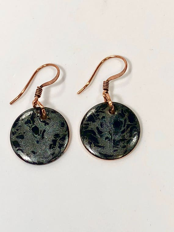 SJC10179 - Handmade round black/gray enamel gold filled earrings with abstract designs