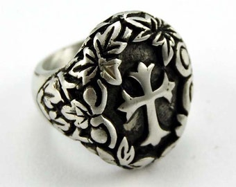 Pewter Ring with Celtic Style Cross & Floral Pattern