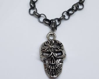 Silver Skull Male Necklace