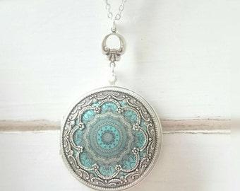 Mandala Vintage style Locket Necklace - Vintage Antique silver Ornately Decorated Pendant Jewelry.