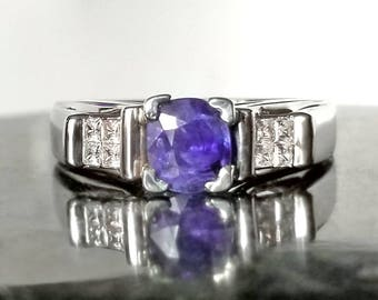 1 ctw Sapphire & Diamond Ring in Sterling Silver / Natural Blue Ultraviolet Gemstone Engagement Ring / De Luna Gems / Free Shipping!