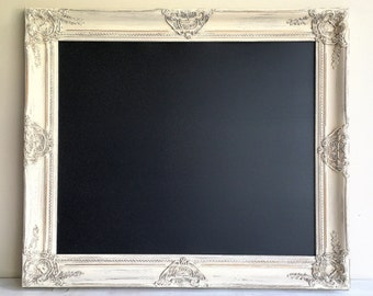 READY TO SHIP - Framed Magnetic Chalkboard Wedding Chalkboard Linen White Distressed Chalkboard Ornate Chalkboard Gift for Her White Cream