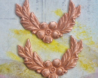 TWO mini floral brass garlands, Rose Gold Ox, Brass Stampings for Jewelry, Made in the USA