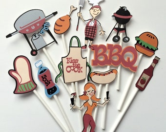 BBQ cupcake or burger toppers, BBQ party toppers, BBQ party, bbq toppers, summer bbq party cake toppers, summer party toppers bbq
