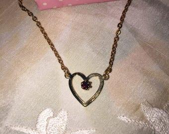 NIB Vintage Avon Tender Heart Birthstone Pendant Necklace, January, 1977