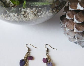 Long earrings mustard and plum Fimo