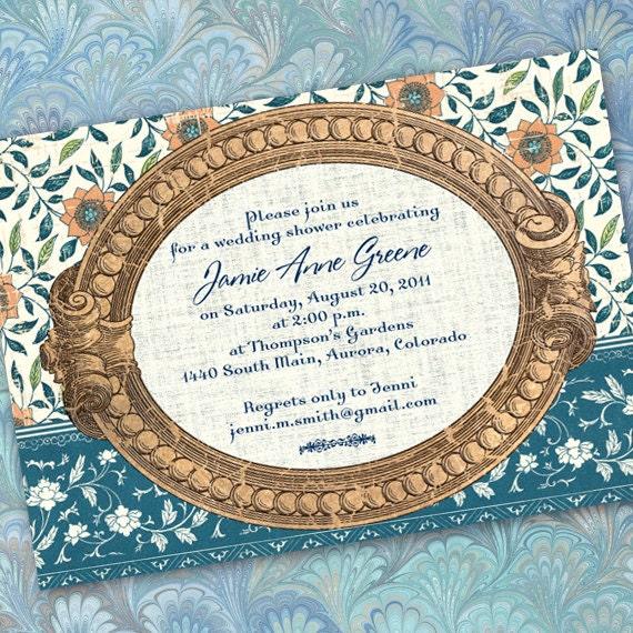 bridal shower invitations, teal bridal shower invitations, aqua wedding shower invitations, aqua floral invitations, bachelorette party