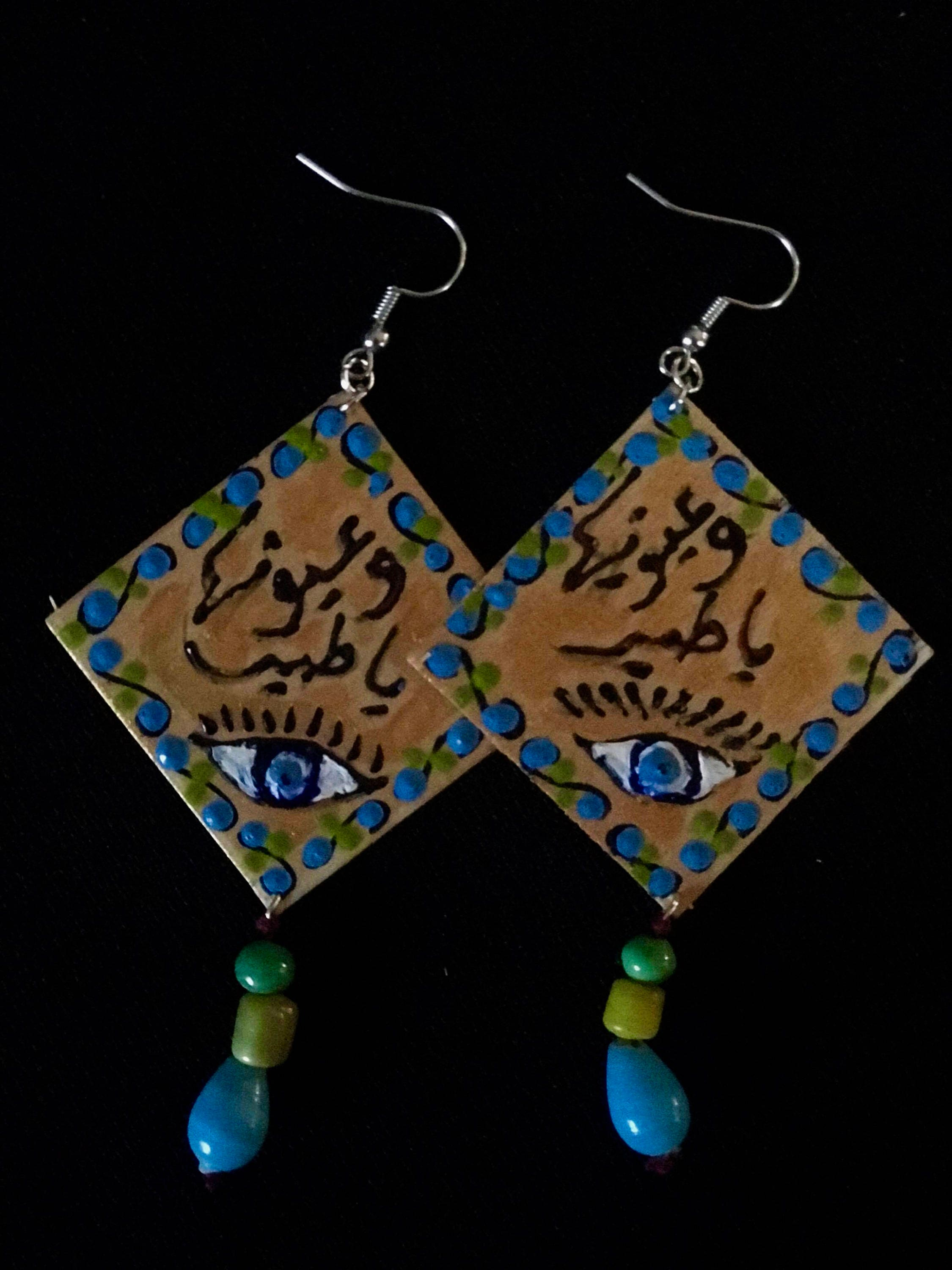 painted earrings large wood hand handpainted dakini product