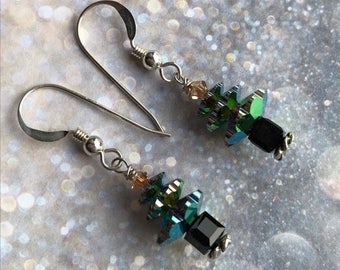 Christmas tree earrings - sterling silver swarovski green and gold crystal jewellery sparkly jewelry festive yule party accessories gift