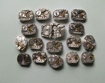 17 pcs Assorted Watch Movements, Small Watch Movements, Steampunk Supplies, Watch Movements for Parts, Antique Watch Parts