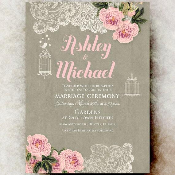 Wedding Invitations Birdcage: Lace Wedding Invitation Barn Wedding Invitation Birdcage