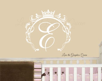 Monogram Wall Decal • Princess Crown Wall Decal • Swirl Frame Initial Monogram Vinyl Wall Decal • Girl Room Nursery