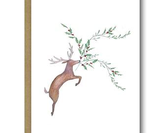 Reindeer Holly & Mistletoe Christmas Cards
