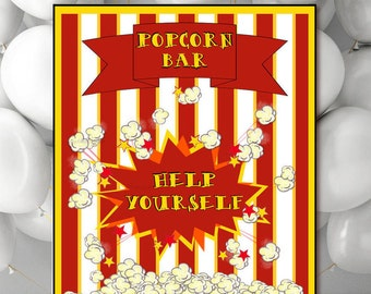 Popcorn Bar Sign, Printable Popcorn Party sign, Digital wedding reception sign, red yellow Birthday Party event table sign jpg pdf 5x7-11x14