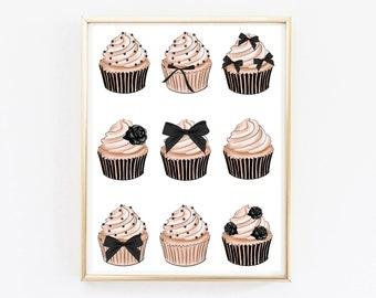 Cupcakes Digital Art Fashion Art Download Printable cupcakes wall decor Bakery Art Print Kitchen Cake art Bakery Sign Gift For Cake Lover