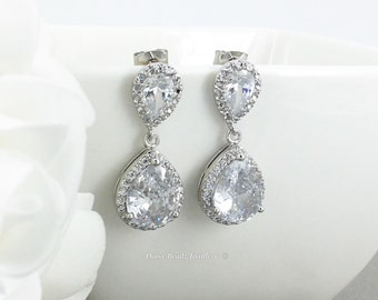 Bridal Earrings Dangle Earrings Crystal Earrings Wedding Jewelry Bridesmaid Gift for Moms Cubic Zirconia Earrings Teardrop Earrings