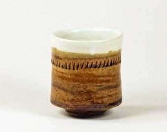 Amber & white ceramic cup (yunomi)