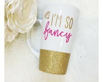 I'm so Fancy Glitter Ceramic Coffee Cup // Glitter Cup // Glitter Coffee Cup // Coffee Cup // Birthday Gift // Fancy // Coffee Mug // Coffee