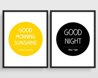 Bedroom Wall Art, Above Bed Art, Modern Wall Art, Minimalist Art, Set of Prints Bedroom, Good Morning Sunshine, Good Night Sleep Tight