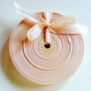 Vintage 1930's-40's French Woven Ribbon -Milliners Stock- 5/8 Inch Gorgeous Taupe Rosy Beige