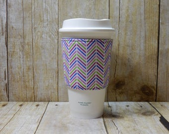 Fabric Coffee Cozy / Chevron Coffee Cozy / Coffee Cozy / Tea Cozy