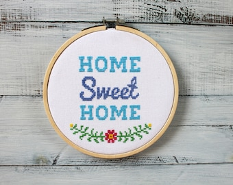 Completed Cross Stitch Home Sweet Home Cross Stitch New Home Gift Embroidery Hoop Art Modern Cross Stitch Home Quote Cross Stitch Finished