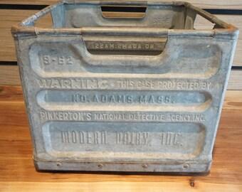 Metal Modern Dairy Milk Crate Dated September 1962, N. Adams Mass, Protected by Pinkertons