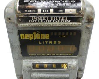 Vintage Neptune Gas Flow Meter, Garage Fuel Pump Register, Steampunk, Lamp