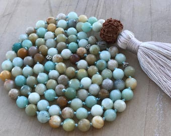 Knotted Mala Necklace, 108 Prayer Mala Beads, Amazonite Mala, Faceted Amazonite,For dispelling negative energy, good luck & prosperity
