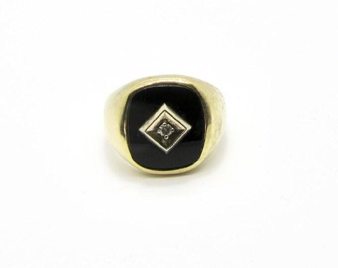 Black Onyx Ring, Black Onyx and Diamond Ring, Vintage Diamond and Black Onyx Ring, Vintage Ring, Large Black Onyx Ring, Vintage Jewelry