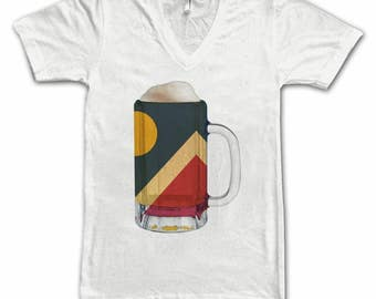 Ladies Denver City Flag Beer Mug Tee, Home Tee, City Pride, City Flag, Beer Tee, Beer T-Shirt, Beer Thinkers, Beer Lovers Tee