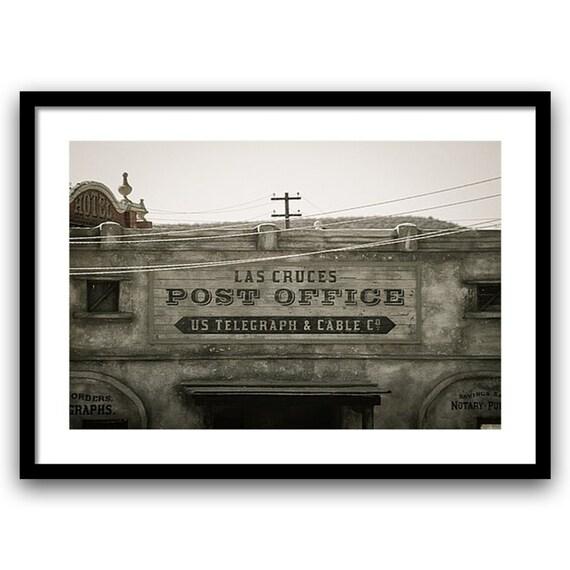 Western Home Decor, Fine Art Photography, Mexican Decor, Western Bathroom Decor, Wall Art, Telegraph Company, 5x7 8x10 8x12, Gray Red