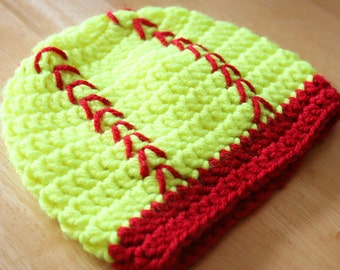 Softball Hat, toddler softball hat, kids softball hat, crochet softball hat, safety yellow and red, 12 months to 4T sizes available