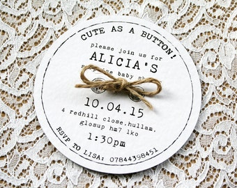 Handmade Cute as a Button Baby Shower Invitation, Birth Announcement - Rustic, Twine, Kraft