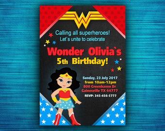 Wonder Woman Invitation - Wonder Woman Party Invitation - Wonder Woman Birthday - Superhero Birthday Party-Girl Birthday- Digital file