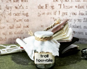 Witch / Wizard magical, miniature, 1:12 scale, doll house troll toenails, apothecary spells and potions, dolls house