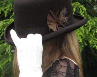 Wool Felt Bowler Derby Hat - Chocolate Brown Szs: Med,Lrg