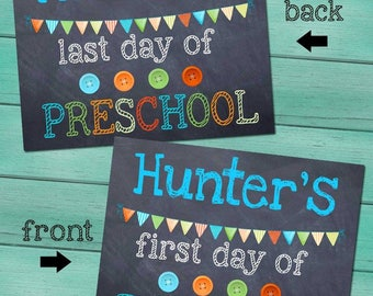 First and Last Day of Preschool Personalized CHALKBOARD - Blue FL0002