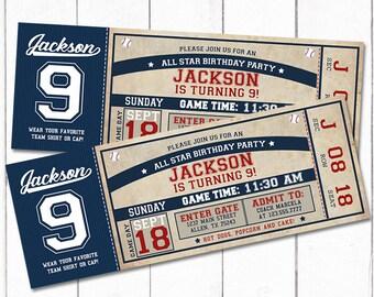 Blue & Red Vintage Baseball Ticket Birthday Party Invitation - Baseball Birthday Party