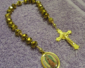 Our Lady Of Guadalupe Gold Crystal Beaded Chaplet