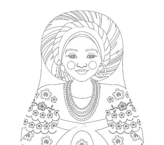 Bahia Brazilian Doll Traditional Dress Coloring Sheet Printable