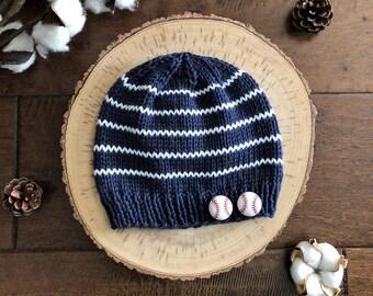 Soft Baseball Hat for Baby/Navy & White Stripe Baby Hat/Infant Hat/Baby Shower Gift/Hat for Boy/Baseball Cap for Baby/Navy White Knit Beanie