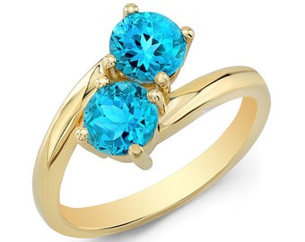 2 TCW Swiss Blue Topaz Duo Ring In 14k White Gold
