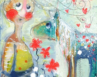 "Original Art on canvas: ""A little bird told me about love"", 20 x 20 cm / 7.8 x 7.8"""