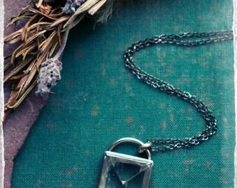 Rock crystal quartz pyramid, quartz and sterling silver pendant, square gemstone pendant, mineral talisman, natural protection amulet